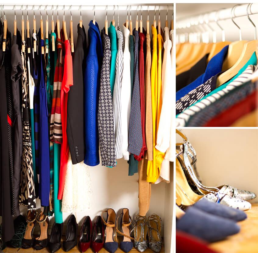 Organiser son dressing - vêtements sur cintres + chaussures