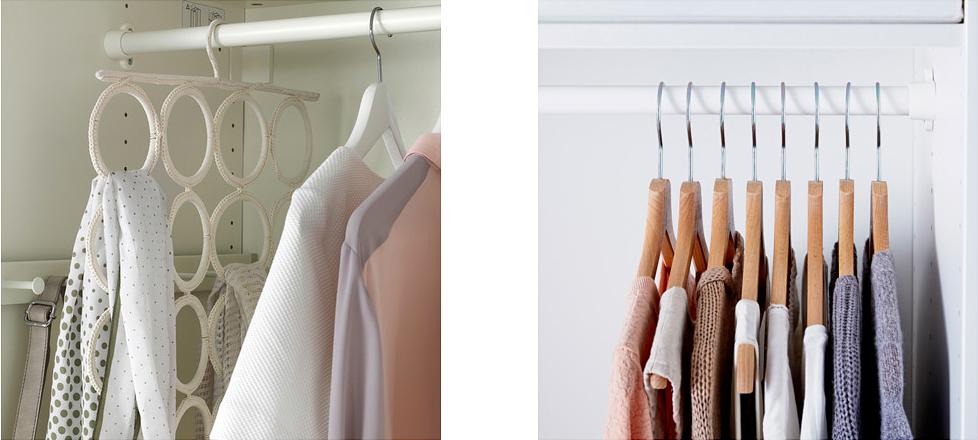 orgzniser son dressing - ranger ses vêtements sur des cintres
